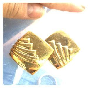 MONET bright gold 1970s disco mod clip earrings